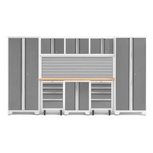 Armoire Bold Series de New Age Products, en acier et en bambou, à 8 tiroirs, ensemble de 9 morceaux, platine