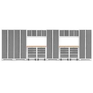 Armoire Bold Series de New Age Products, en acier et en bambou, à 16 tiroirs, ensemble de 14 morceaux, platine