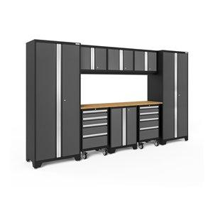 Armoire Bold Series de New Age Products, en acier et en bambou, capacité de 3700 lb, ensemble de 9 morceaux, gris foncé