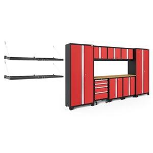 Armoire Bold Series de New Age Products, en acier et en bambou, capacité de 4900 lb, ensemble de 9 morceaux, rouge