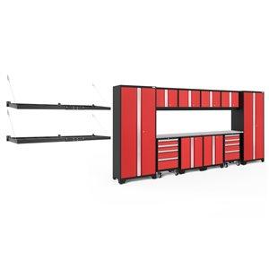 Armoire Bold Series de New Age Products, en acier et en acier inoxydable, à 8 tiroirs, ensemble de 12 morceaux, rouge