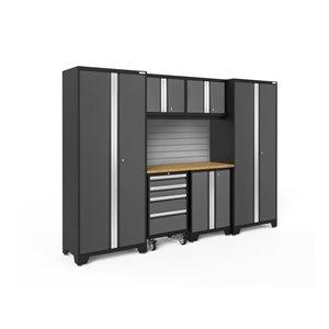 Armoire Bold Series de New Age Products, en acier et en bambou, capacité de 3000 lb, ensemble de 7 morceaux, gris foncé