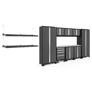Armoire Bold Series de New Age Products, en acier, capacité de 4900 lb, ensemble de 9 morceaux, gris foncé