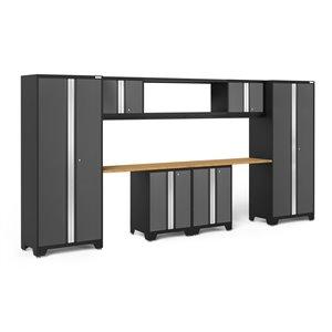 Armoire Bold Series de New Age Products, en acier et en bambou, capacité de 3500 lb, ensemble de 9 morceaux, gris foncé
