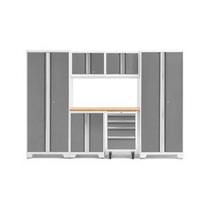 Armoire Bold Series de New Age Products, en acier et en bambou, capacité de 3000 lb, ensemble de 7 morceaux, platine