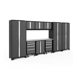Armoire Bold Series de New Age Products, en acier et en acier inoxydable, à 8 tiroirs, ensemble de 10 morceaux, gris foncé
