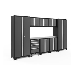 Armoire Bold Series de New Age Products, en acier et en acier inoxydable, à 4 tiroirs, ensemble de 9 morceaux, gris foncé
