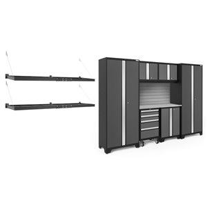 Armoire Bold Series de New Age Products, en acier et en acier inoxydable, à 4 tiroirs, ensemble de 7 morceaux, gris foncé