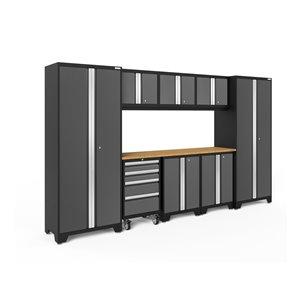Armoire Bold Series de New Age Products, en acier et bambou, à 4 tiroirs, ensemble de 9 morceaux, gris foncé