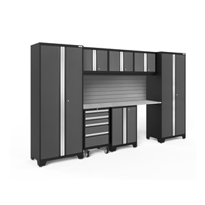 Armoire Bold Series de New Age Products, en acier, à 4 tiroirs, capacité de 3100 lb, ensemble de 8 morceaux, gris foncé