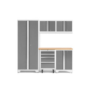 Armoire Bold Series de New Age Products, en acier et en bambou, à 4 tiroirs, ensemble de 6 morceaux, platine