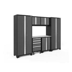 Armoire Bold Series de New Age Products, en acier, capacité de 3000 lb, ensemble de 7 morceaux, gris foncé
