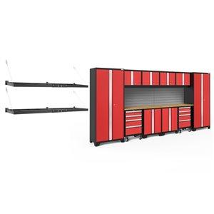 Armoire Bold Series de New Age Products, en acier et en bambou, à 8 tiroirs, ensemble de 12 morceaux, rouge