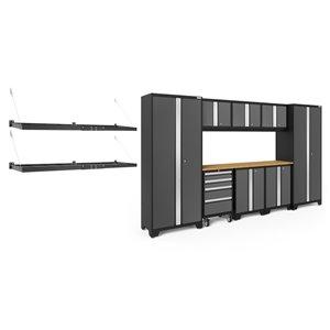 Armoire Bold Series de New Age Products, en acier, à 4 tiroirs, capacité de 4900 lb, ensemble de 9 morceaux, gris foncé