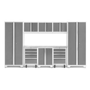 Armoire Bold Series de New Age Products, en acier et acier inoxydable, capacité de 3700 lb, ensemble de 9 morceaux, platine