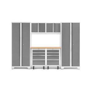 Armoire Bold Series de New Age Products, en acier et en bambou, à 8 tiroirs, ensemble de 7 morceaux, platine