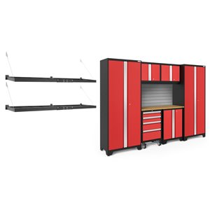 Armoire Bold Series de New Age Products, en acier et bambou, à 4 tiroirs, capacité de 4200 lb, ensemble de 7 morceaux, rouge