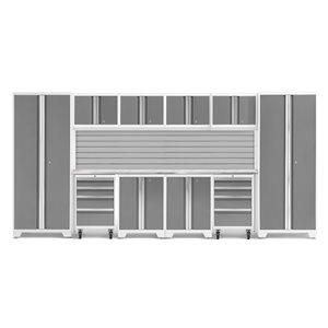 Armoire Bold Series de New Age Products, en acier et en acier inoxydable, ensemble de 12 morceaux, platine