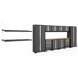 Armoire Bold Series de New Age Products, en acier et en bambou, à 8 tiroirs, ensemble de 12 morceaux, gris foncé