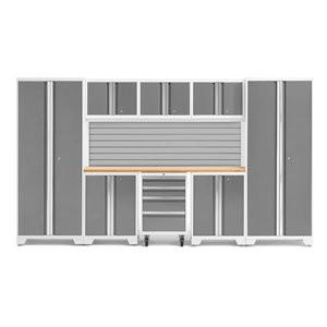 Armoire Bold Series de New Age Products, en acier, à 4 tiroirs, ensemble de 9 morceaux, platine