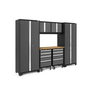 Armoire Bold Series de New Age Products, en acier et en bambou, à 8 tiroirs, ensemble de 7 morceaux, gris foncé