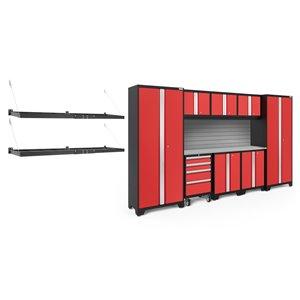 Armoire Bold Series de New Age Products, en acier et en acier inoxydable, capacité de 4900 lb, ensemble de 9 morceaux, rouge