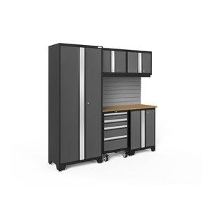 Armoire Bold Series de New Age Products, en acier et en bambou, capacité de 2200 lb, ensemble de 6 morceaux, gris foncé