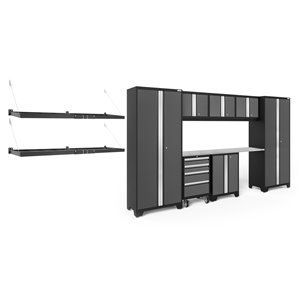 Armoire Bold Series de New Age Products, en acier et en acier inoxydable, à 4 tiroirs, ensemble de 8 morceaux, gris foncé