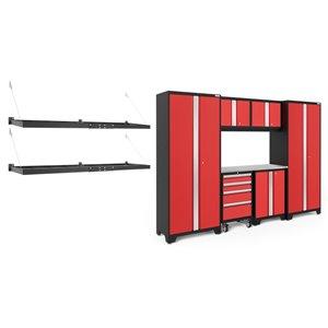 Armoire Bold Series de New Age Products, en acier, capacité de 4200 lb, ensemble de 7 morceaux, rouge
