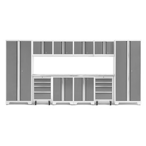 Armoire Bold Series de New Age Products, en acier et en acier inoxydable, à 8 tiroirs, ensemble de 12 morceaux, platine