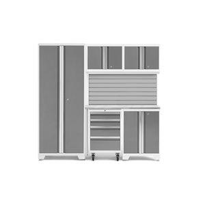 Armoire Bold Series de New Age Products, en acier, capacité de 2200 lb, ensemble de 6 morceaux, platine