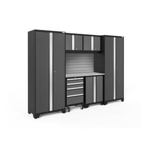 Armoire Bold Series de New Age Products, en acier et en acier inoxydable, ensemble de 7 morceaux, gris foncé