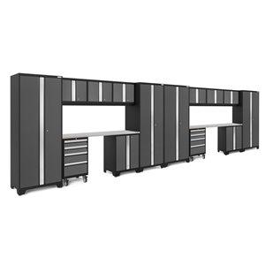 Armoire Bold Series de New Age Products, en acier et en acier inoxydable, à 8 tiroirs, gris foncé