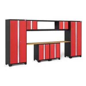 Armoire Bold Series de New Age Products, en acier et en bambou, capacité de 3500 lb, ensemble de 9 morceaux, rouge