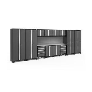 Armoire Bold Series de New Age Products, en acier et acier inoxydable, à 8 tiroirs, ensemble de 14 morceaux, gris foncé
