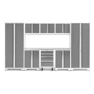 Armoire Bold Series de New Age Products, en acier et en acier inoxydable, à 4 tiroirs, ensemble de 9 morceaux, platine