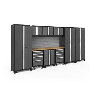 Armoire Bold Series de New Age Products, en acier et en bambou, à 8 tiroirs, ensemble de 10 morceaux, gris foncé