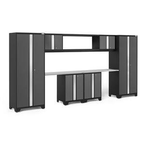 Armoire Bold Series de New Age Products, en acier, capacité de 3500 lb, ensemble de 9 morceaux, gris foncé