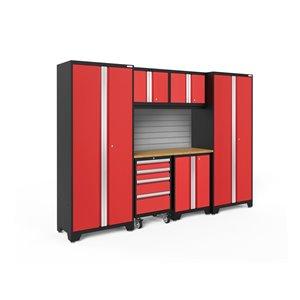 Armoire Bold Series de New Age Products, en acier et en bambou, à 4 tiroirs, ensemble de 7 morceaux, rouge