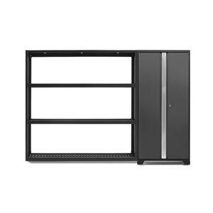 Armoire Bold Series de New Age Products, en acier, capacité de 800 lb, ensemble de 2 morceaux, gris foncé