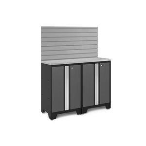 Armoire Bold Series de New Age Products, en acier et en acier inoxydable, ensemble de 3 morceaux, gris foncé