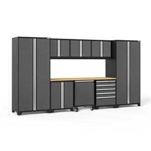 Armoire Pro Series de New Age Products, en acier et en bambou, à 5 tiroirs, capacité de 5100 lb, ensemble de 9 morceaux, gris