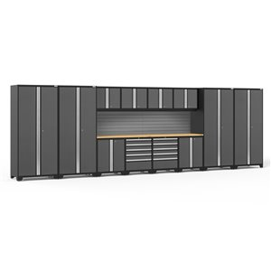 New Age Products Pro Series Cabinet - Steel and Bamboo - 10 Drawers - Set of 14 Pieces - Grey