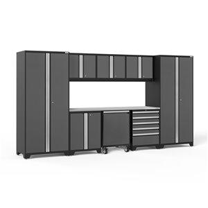 Armoire Pro Series de New Age Products, en acier et en acier inoxydable, à 5 tiroirs, ensemble de 9 morceaux, gris