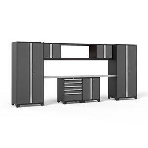 Armoire Pro Series de New Age Products, en acier et en acier inoxydable, capacité de 4400 lb, ensemble de 9 morceaux, gris