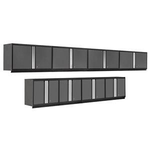 Armoire Pro Series de New Age Products, en acier, capacité de 1600 lb, ensemble de 8 morceaux, gris