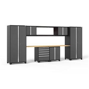 Armoire Pro Series de New Age Products, en acier et en bambou, à 5 tiroirs, capacité de 4400 lb, ensemble de 9 morceaux, gris