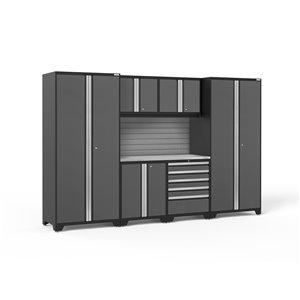 Armoire Pro Series de New Age Products, en acier et en acier inoxydable, à 5 tiroirs, ensemble de 7 morceaux, gris foncé