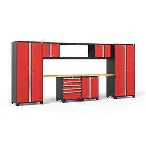 Armoire Pro Series de New Age Products, en acier et en bambou, à 5 tiroirs, ensemble de 9 morceaux, rouge