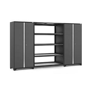 Armoire Pro Series de New Age Products, en acier, capacité de 2000 lb, ensemble de 3 morceaux, gris